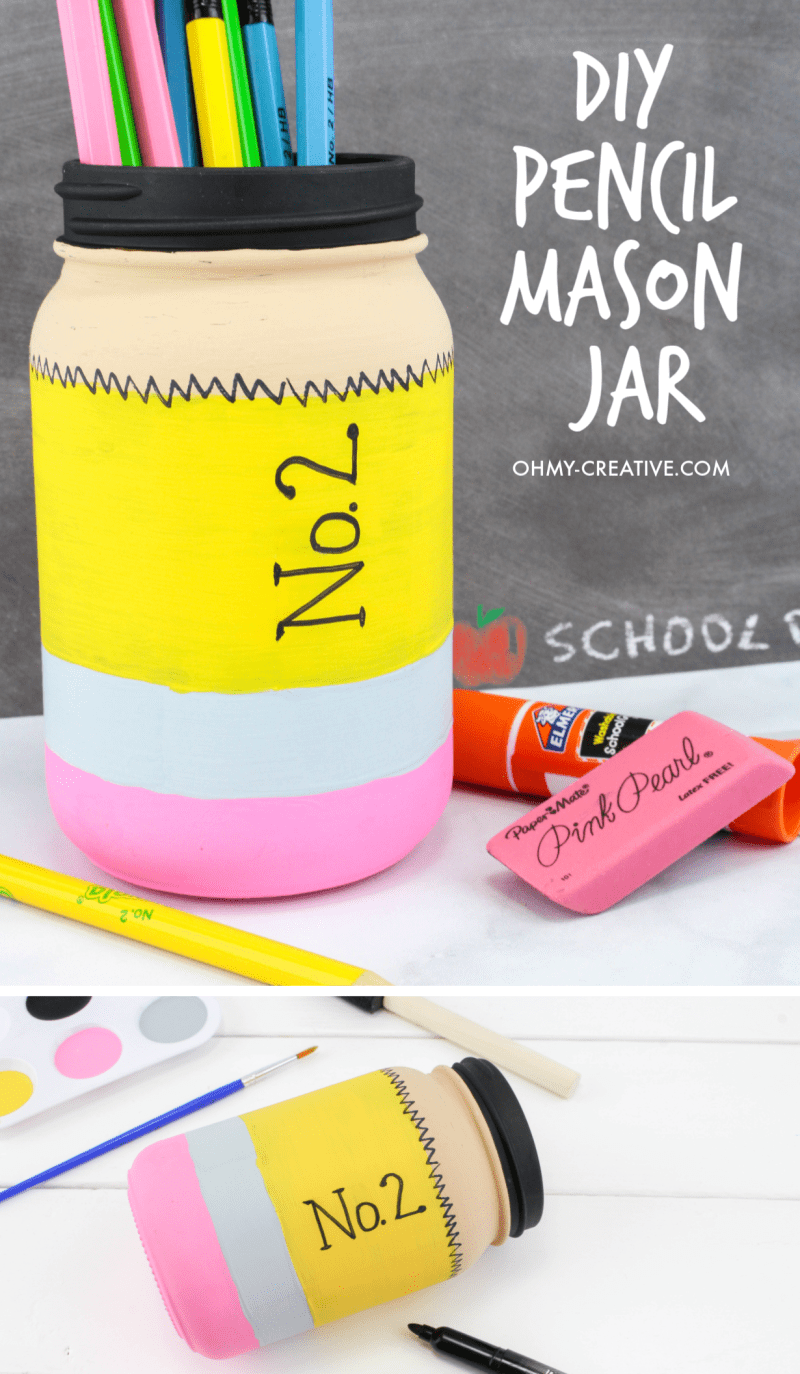 Finished pencil mason jar pencil holder with school supplies