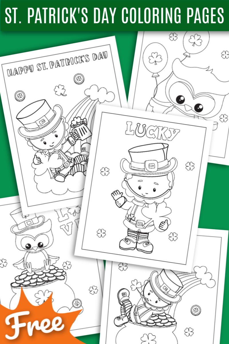 Five Free St. Patrick's Day Coloring Pages - The kids will love these cute leprechauns, shamrocks and pots of gold for the to color and celebrate St. Patrick's Day! Black and white st. Patrick's day pages to color.