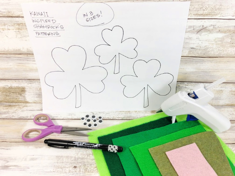 Material list of products to make Kawaii inspired shamrocks