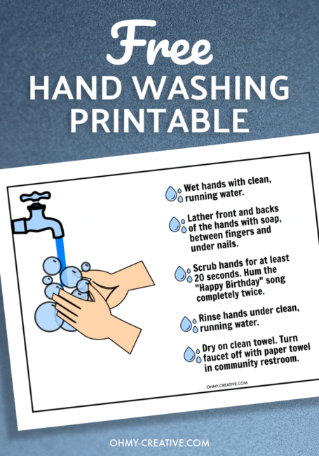 Hand washing printable with graphic of soapy hands under faucet and a list of hand washing instructions.