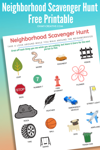 Multi colored background with an image or the neighborhood scavenger hunt free printable page.