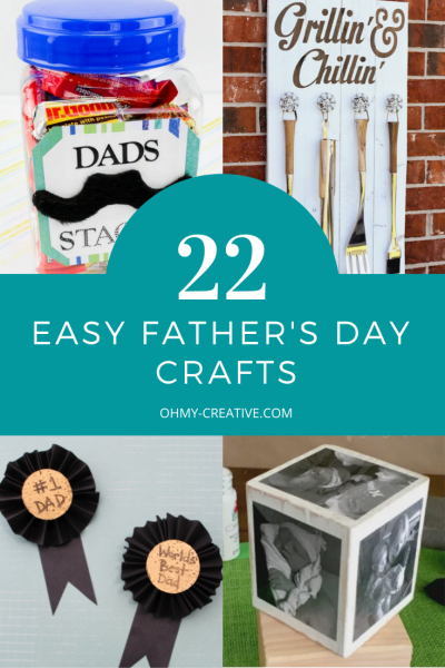 Collage of diy father's day craft ideas