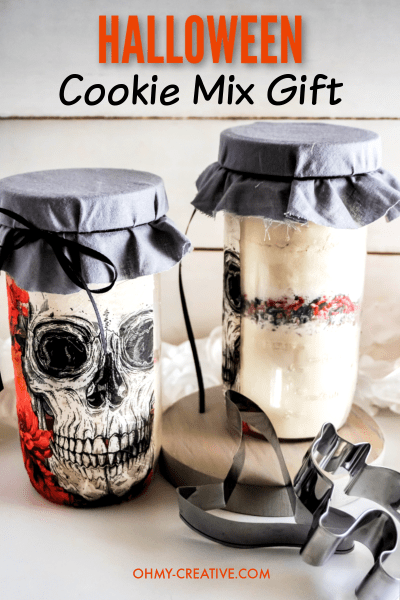 The front and back of these Halloween cookies in a jar are festive gifts to make. Pair with a couple of Halloween cookie cutters to create the perfect Halloween gift!