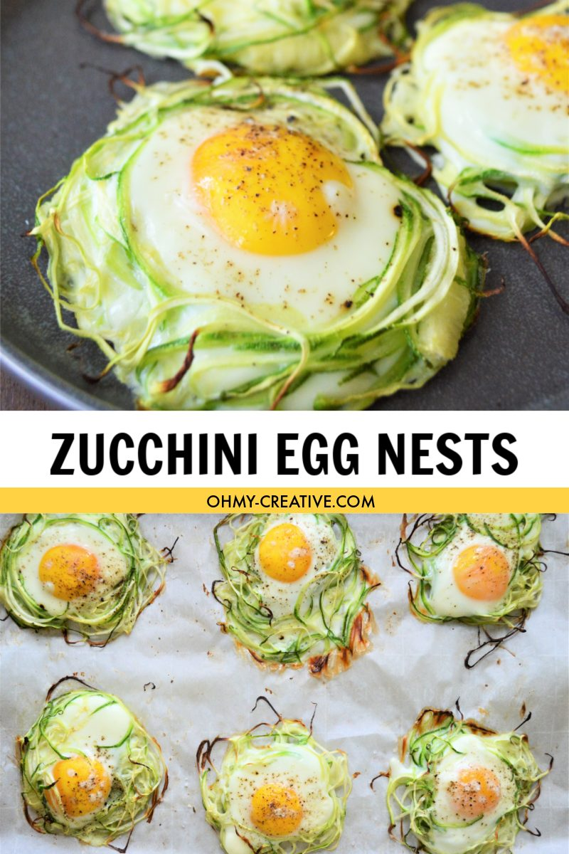 Three zucchini egg nest on a black plate with a baking pan of additional zucchini nests.
