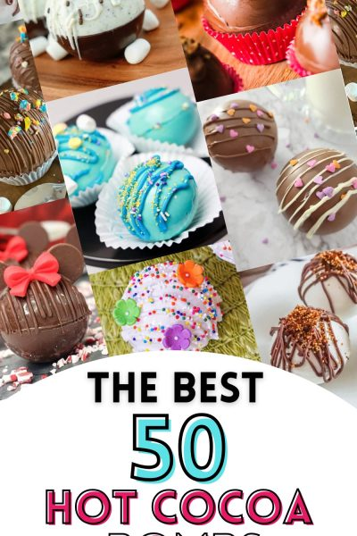 A collage of 50 hot cocoa bombs and recipes.