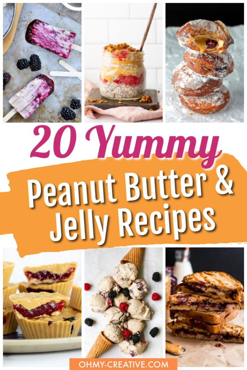 A collage of yummy recipes made with peanut butter and jelly including ice cream, cookies, donuts and more!