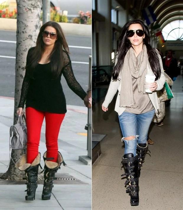 Kardashian usando bota Burberry Shearling Boot