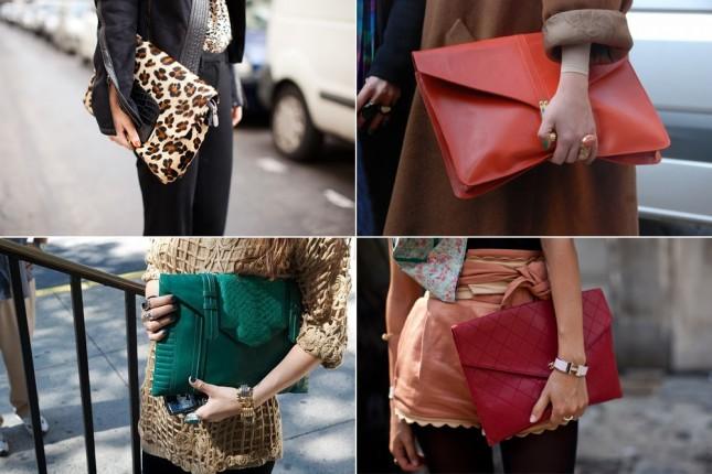 Looks com bolsas Maxi Clutch Street Style