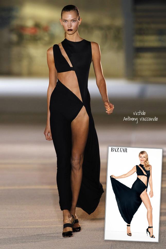 Vestido Anthony Vaccarello Gwyneth Paltrow na Nova Harper's Bazaar