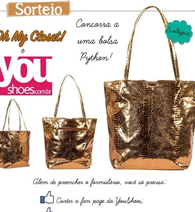 Sorteio blog de moda Oh My Closet e YouShoes bolsa dourada