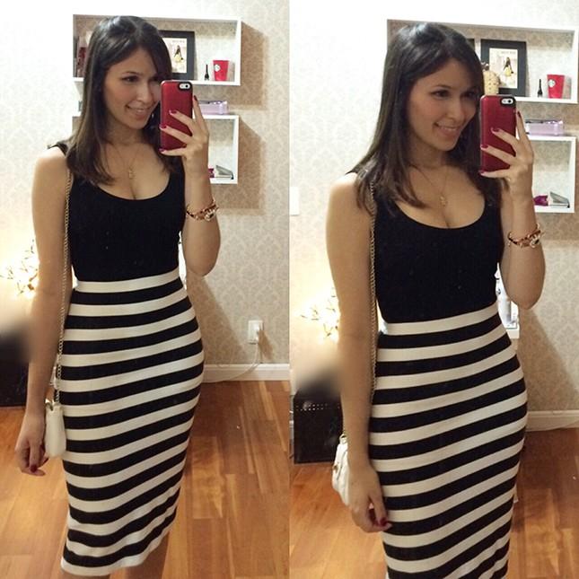 Look Inspiração: Mônica Araújo com vestido listrado P&B!