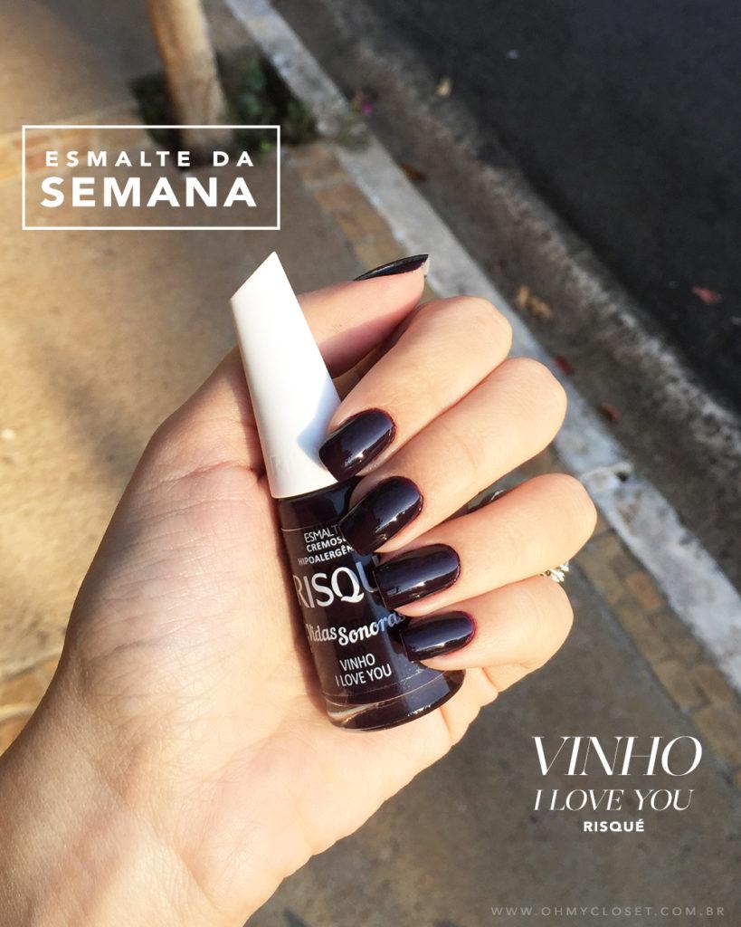 O esmalte Vinho I Love You da Risqué se tornou um dos preferidos da influencer Mônica Araújo. Se você gosta de esmalte escuro vem conferir!