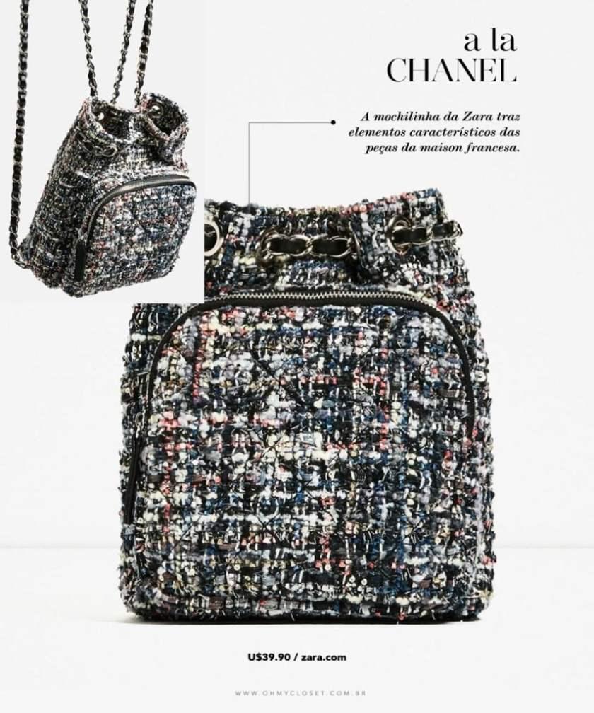Mochila Chanel inspired de tweed na Zara, veja no Oh My Closet!