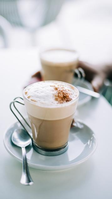 glass cups of coffee latte
