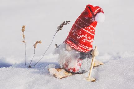gnome in red stocking hat skiing in the snow