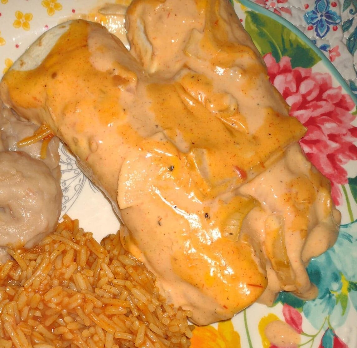 Super Cheesy Chicken Fajita Enchiladas