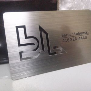 Brushed Silver Metal Business Card with cut out