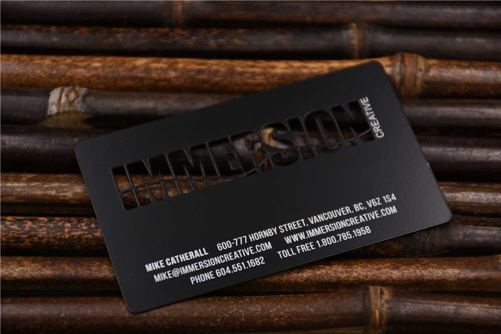 Black Metal Business Cards with Cut out