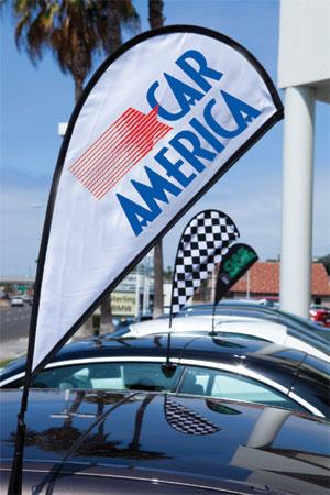 Feather teardrop car flags