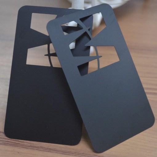 Die cut metal business card matte black