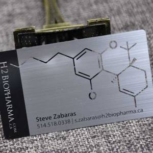 Brushed Metal Business Cards with cut out