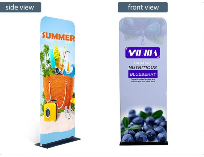 Double Sided Tension Fabric Banner Stand with Weighted Base