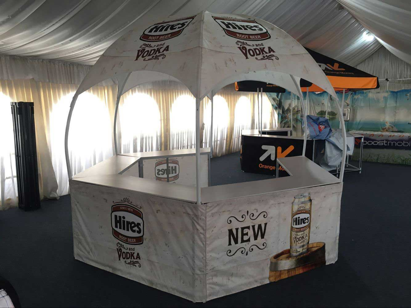 Promotional Booth Tent printing shipped to Toronto & Hexagon Promotional Booth Tent - Dome Tents - Lemonade Stands