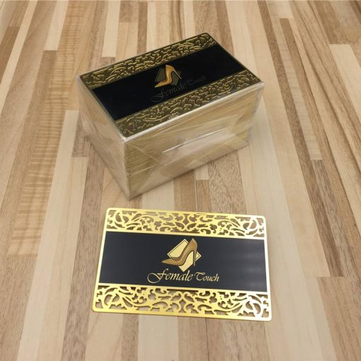 Lace Gold Metal Business Cards shipped to France