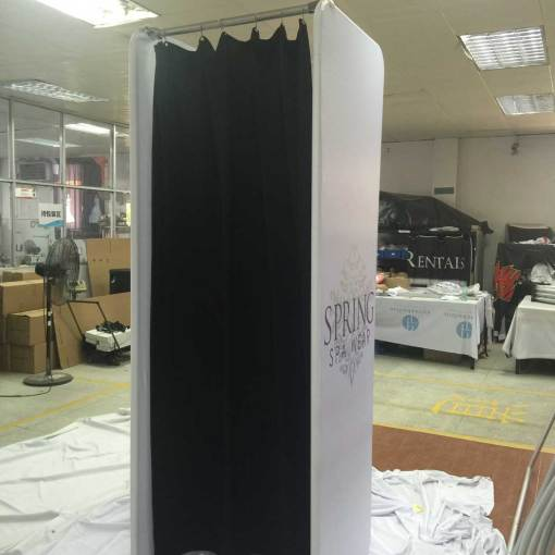 Portable Dressing Room custom printed with black curtain