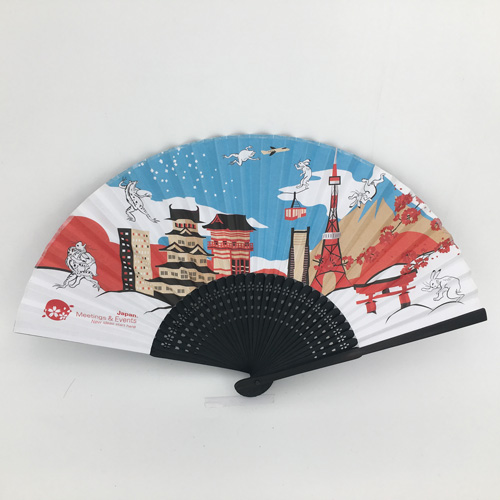 21cm-Black-Bamboo-Fabric-Hand-Fans
