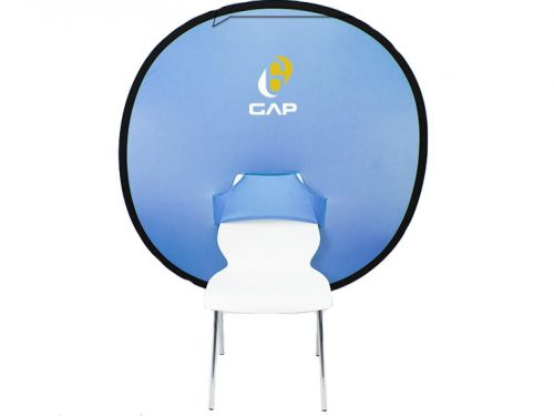 Streaming Backdrop on Chair with Logo
