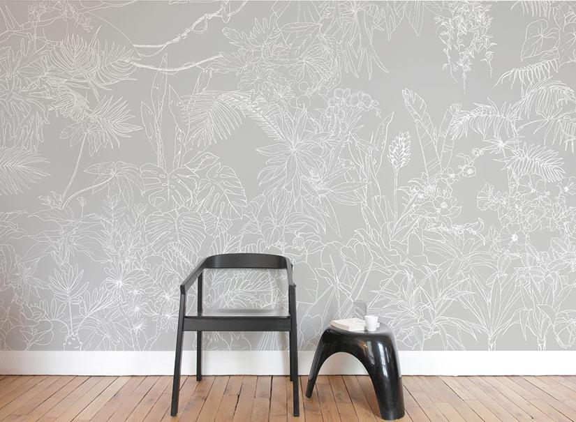 ohmywall papier peint jungle tropical fond gris panoramique par caddous