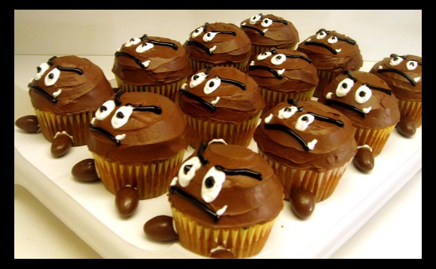 Goomba and Mushroom Cupcakes!