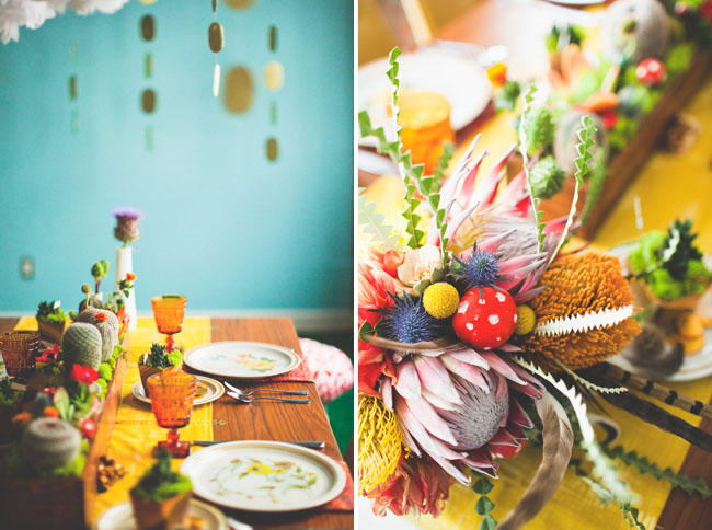 colorful wedding reception table