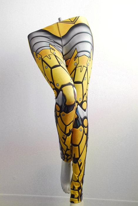 Bionic Leggings - Size L Yellow - Printed Metal Robot Tights - Armor plate look
