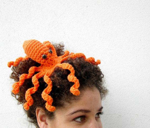 Octopeep Fascinator Hair Clip. Tentacle. Headpiece. Biology Zoology Geek. Whimsical. Odd. Nerdy. Playful. Octopus. Orange.