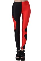 ROMWE Black And Red Poker Pattern PrintLeggings