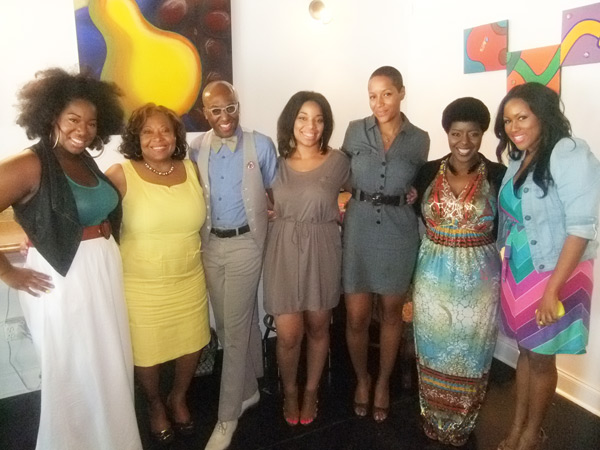 Mimi J (center) and the esteemed panelists (left to right), Alexandra Butler, Evelyn Mims, Courtney Hammonds, Karin Lang, Synthe Maria, and Janelle Landgford