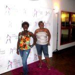 Ladies sashay on the pink carpet. Work it girls!