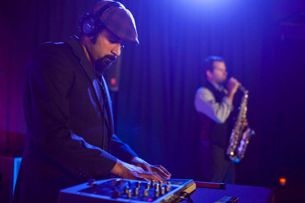 Gettin our groove on in the jazz room with the DJ and live saxophonist