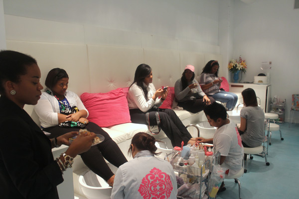 The ladies enjoying their complimentary pedis
