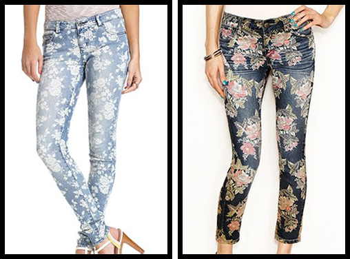 Celebrity Pink Skinny Leg Jeans & Floral Print Skinny Jeans
