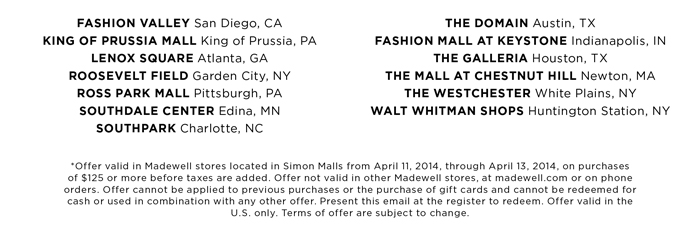 Madewell locations