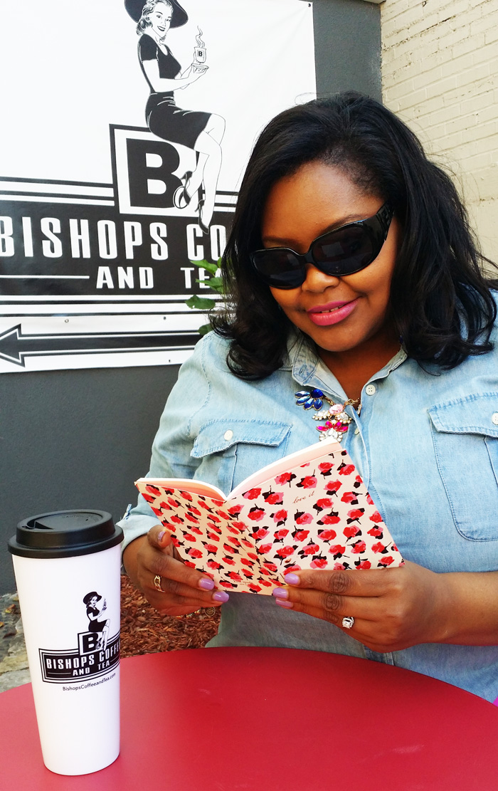 Nikka Shae enjoying a good book at Bishops Coffee and Tea
