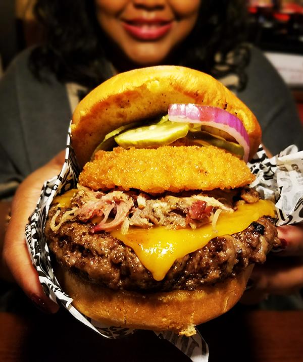 Smokey Bones Bar & Fire Grill Loaded BBQ Burger