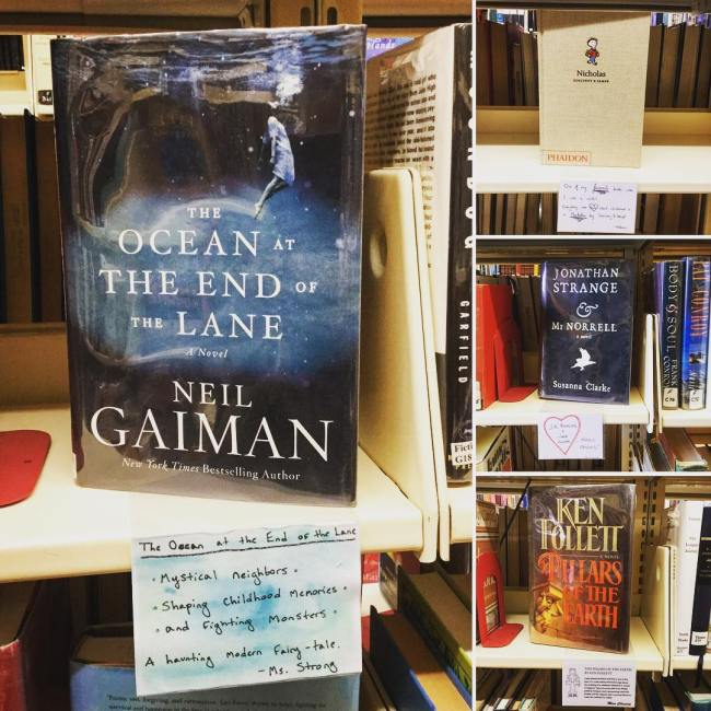 Our shelves are talking! Look for our many new shelf talkers throughout the library for book recommendations by Ohrstrom Library staff and Prefects. #ohrstromlibrary #bookrecommendation #recommendations #neilgaiman #kenfollett #susannaclarke #goscinnyandsempe #shelftalker #shelfie #goodbooks
