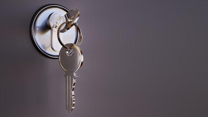 A shiny key sits in a silver lock.