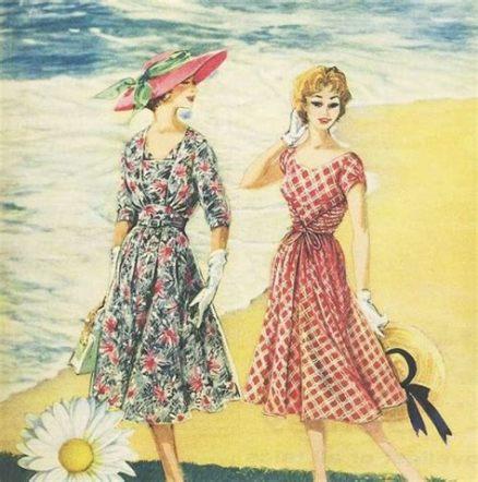 two vintage ladies in summer hats