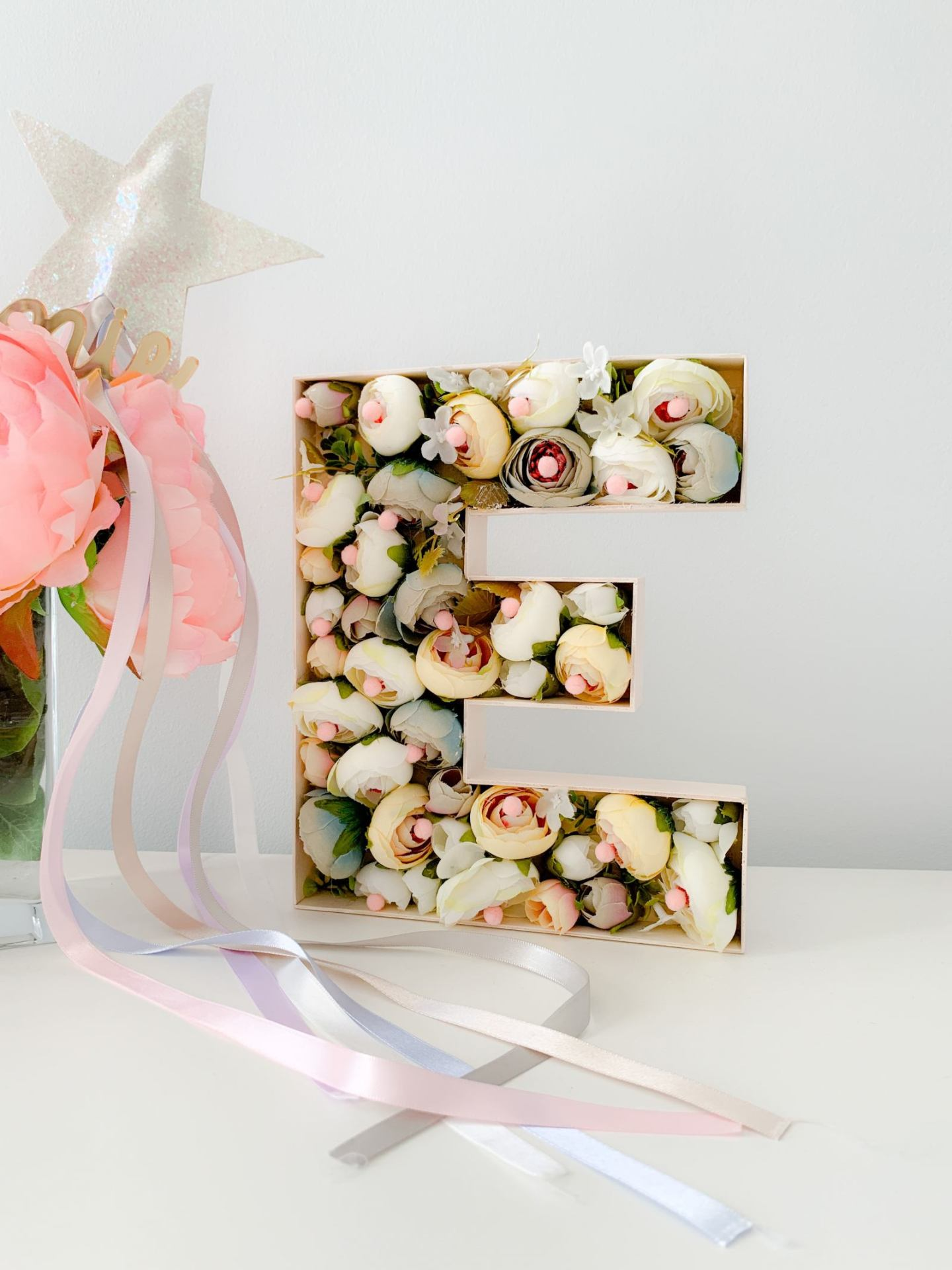 DIY 3D FLOWER MONOGRAM LETTER