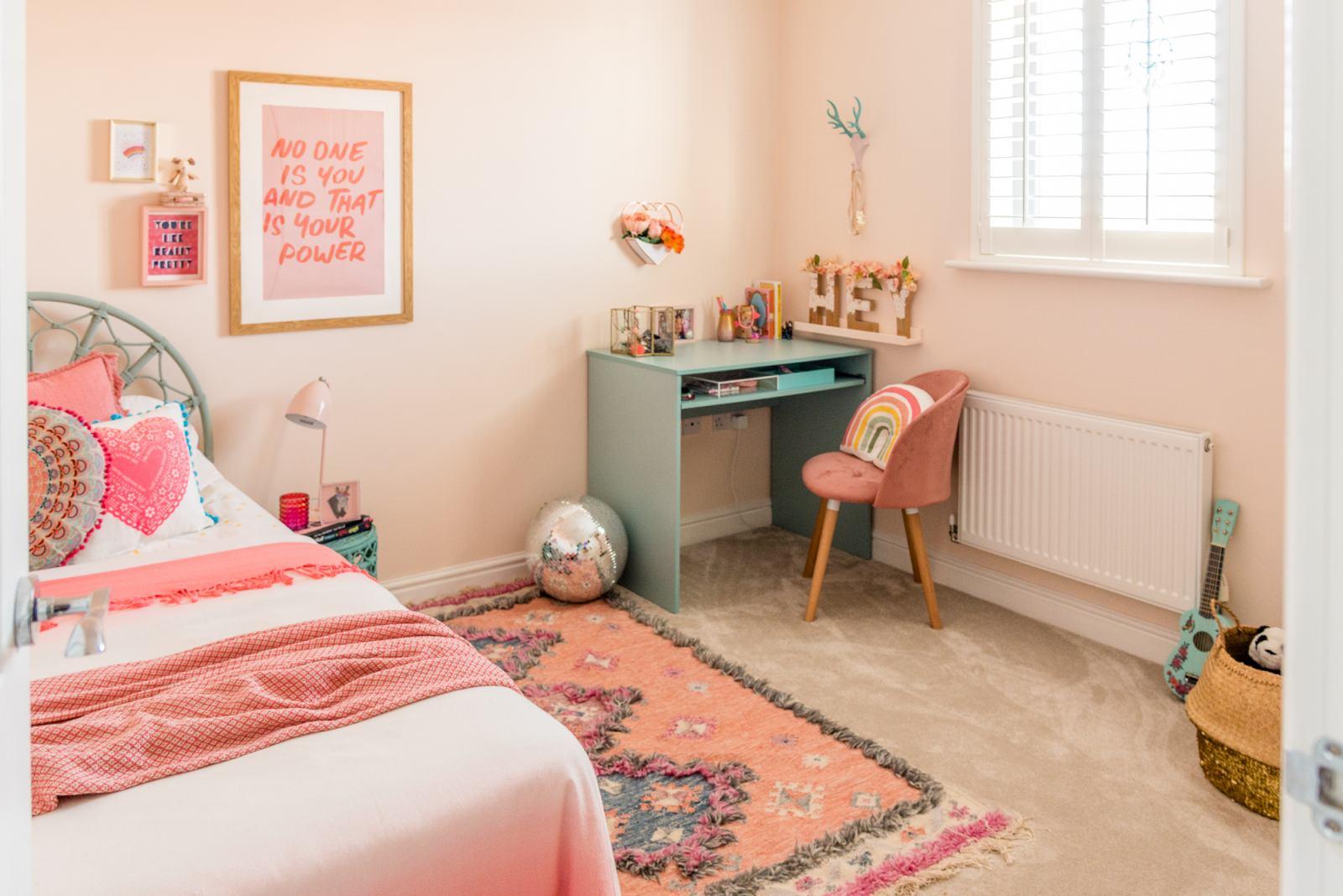 A Modern Boho Peachy Girl's Bedroom